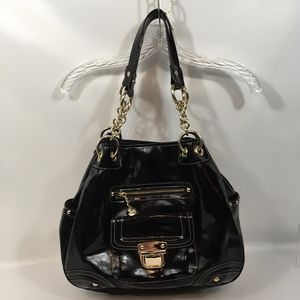 Large Black Patent Purse Bag Tote Gold Chains NWOT